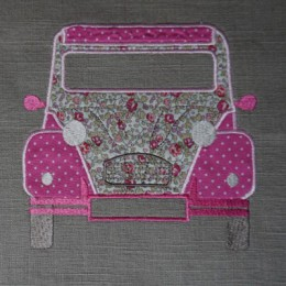 Coupon brodé : 2cv grand format sur lin taupe clair liberty eloise rose