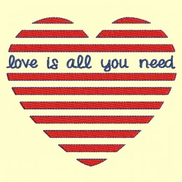 Coeur rayure Love is all you need - 4 tailles