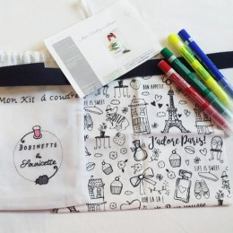 mini totebag à coudre et à colorier - Paris
