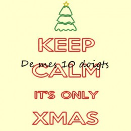 Keep Calm Christmas Redwork - 10x18cm