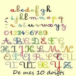 Alphabet Cursif moyenne taille