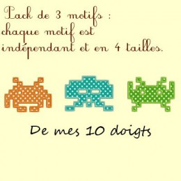 Package 3 motifs Space invaders - 4 tailles chacun